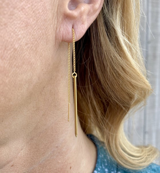 Gold Plated Brass Dangle Earrings