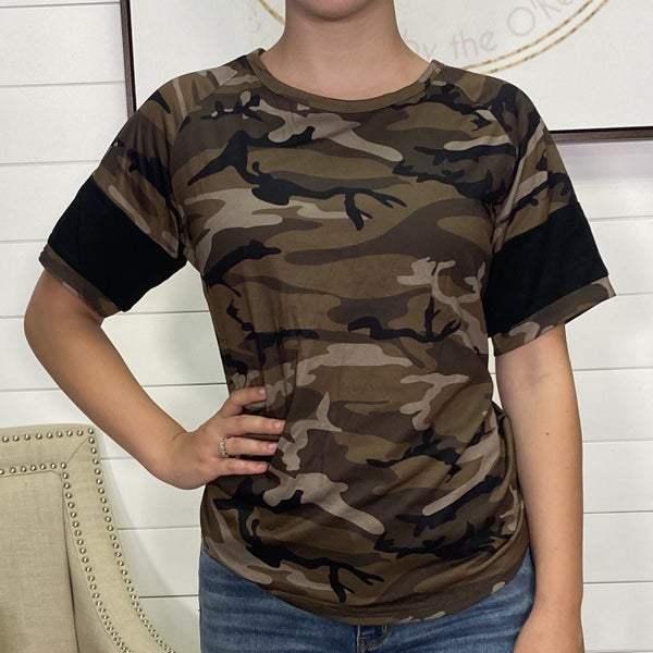 Brown Camo Ampersand Ave Top