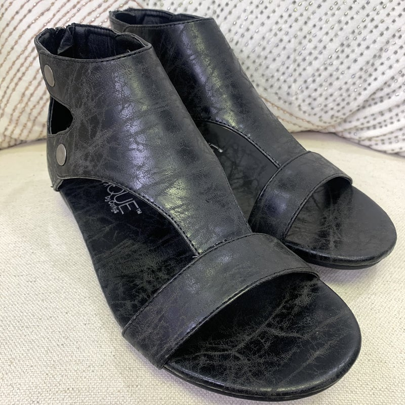 Corky's Black Distressed Vegan Leather Sandal