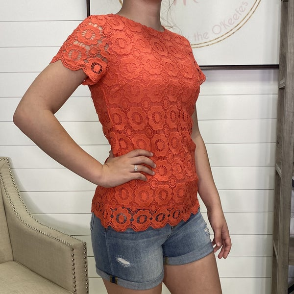 Coral Tea Party Ampersand Avenue Button Back Lace Top