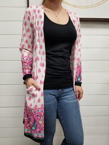Vibrant Floral  Long Sleeve Cardigan