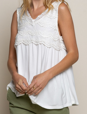 Lace Detail POL V Neck Tank - 3 colors!