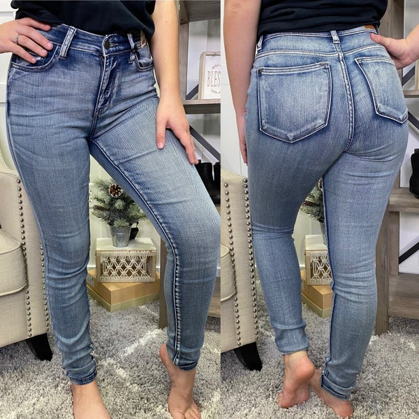 High Rise Stone Wash Non Distressed Judy Blue Jeans