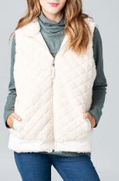 Cream Quilted Fur Reversible Vest