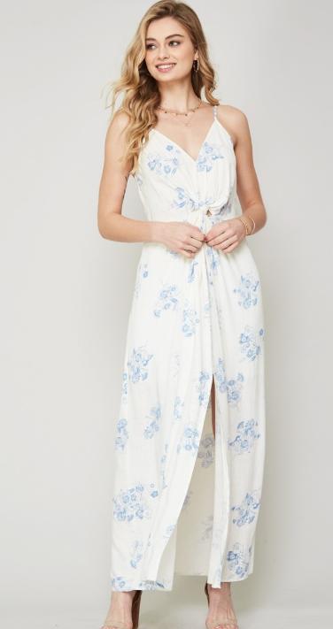 Cream Woven Floral Knotted Waist Maxi Dress