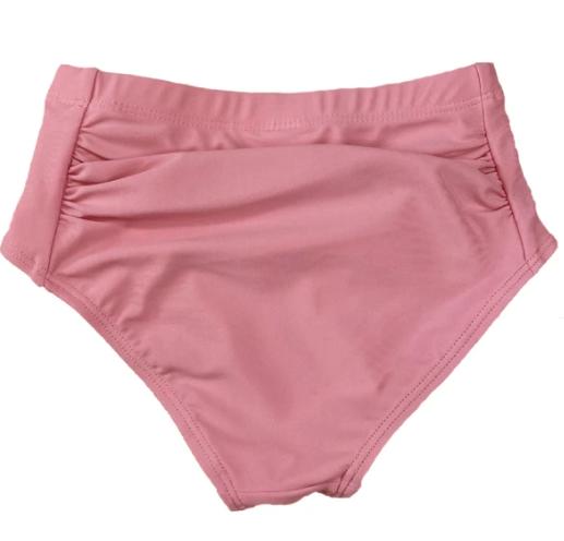 Pink Scrunched Kids Swim Bottoms