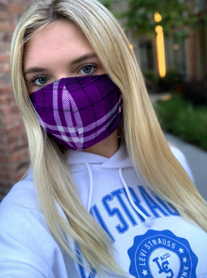 Purple Plaid + Black Masks - 2 pack!