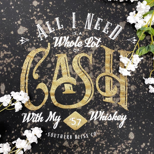 Cash & Whiskey Bleached Tee