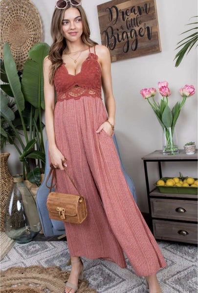 Lace Trim Jumpsuit - 2 colors!