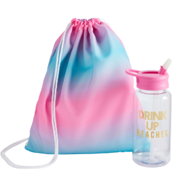 Summer Vibes Water Bottle & Drawsring Bag Set - 3 options!