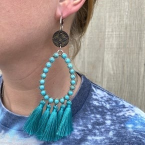 Up-Cycled Designer Teardrop Earring with Tassel - 2 colors!