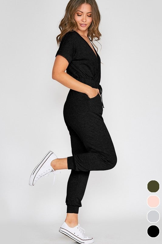 Short Sleeve V Neck Jumpsuit - 2 colors!
