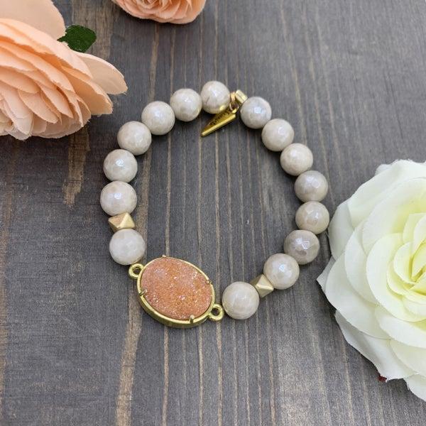 Erimish Natural Stone & Druzy Stretch Bracelet
