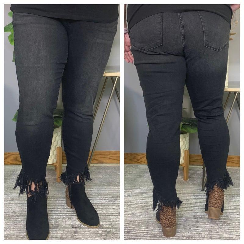 Mid Rise Black Hem Fray Judy Blue Jeans