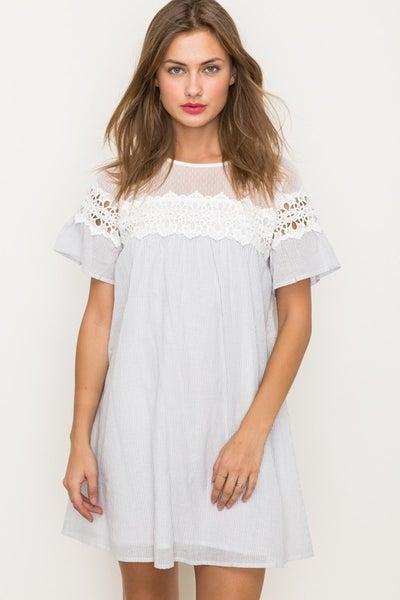 Light Grey Crochet & Lace Detail Dress