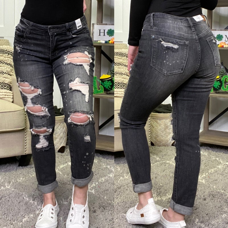 Rock My Style Destroyed Boyfriend Judy Blue Jeans