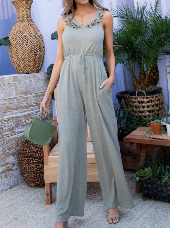 V Neck Ruffle Sleeveless Elastic Waist Jumpsuit