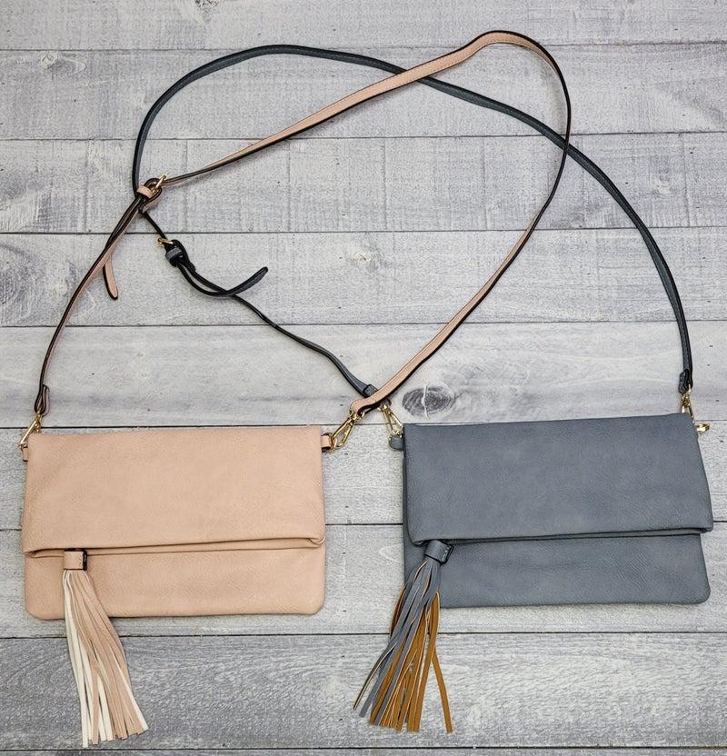 Vegan Leather Flapover Crossbody with Tassel - 7 colors!