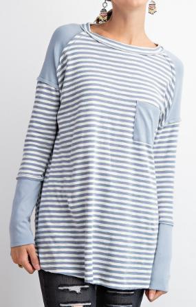 Stripe To Solid Dusty Blue Long Sleeve