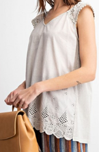 Faded Taupe Crochet Detail Top