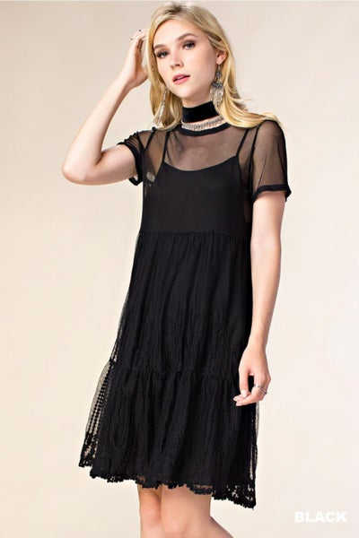(DOOR BUSTER) V-Neck With Sheer Black Lace Trim Dress