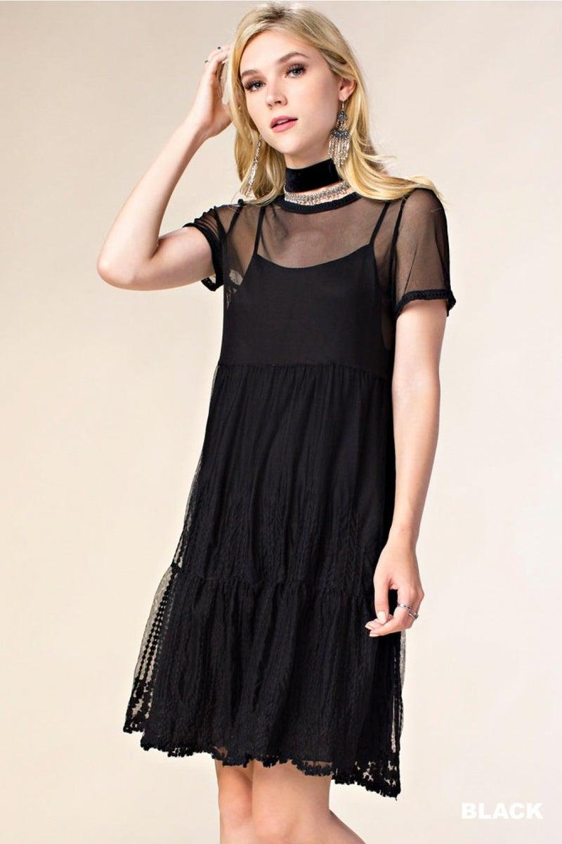 (DOOR BUSTER) V-Neck With Sheer Black Lace Trim Dress