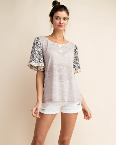 Animal Print Sleeve Kori Top