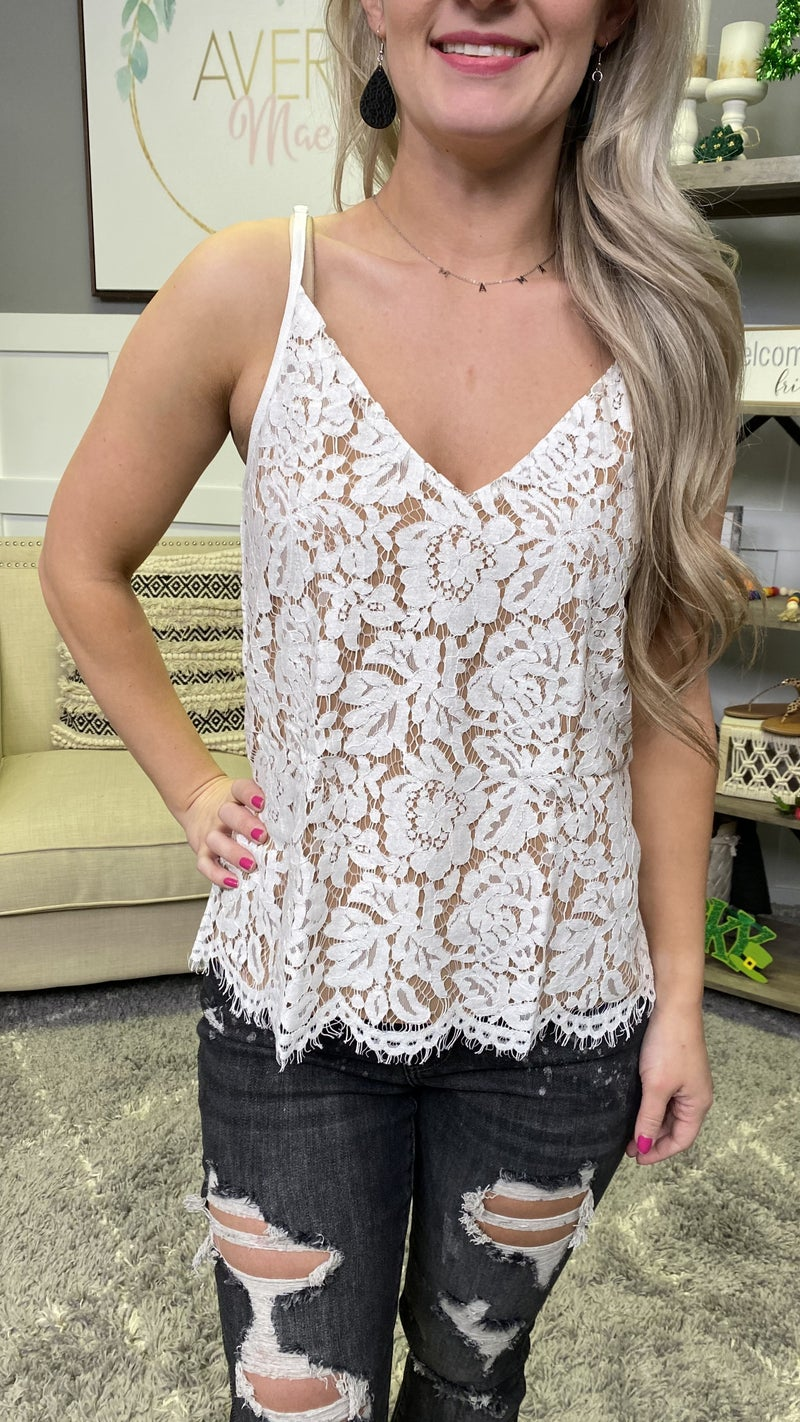 Lace Overlay Tank - 2 colors!