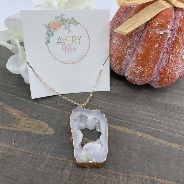 White  Druzy Avery Mae Exclusive Necklace