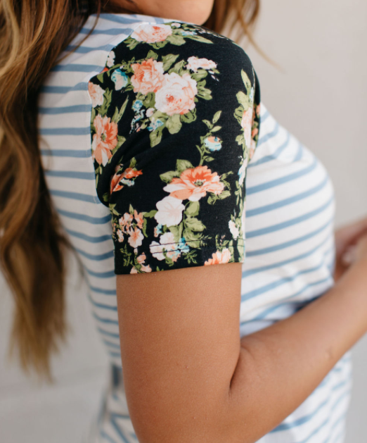 Striped Blue Floral Ampersand Avenue Top