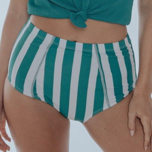 Striped High Waist Swim Bottoms
