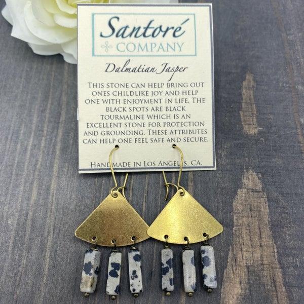 Dalmatian Jasper Fan Earrings