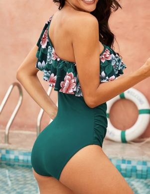 Ruffle Floral One Shoulder One Piece Swimsuit