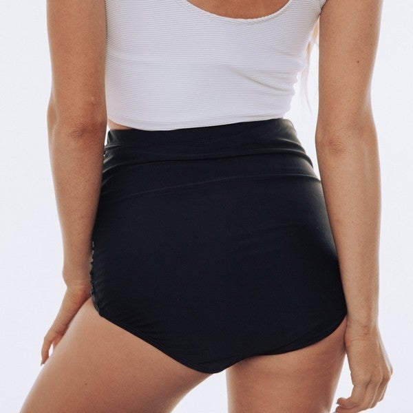 Ultra High Waisted Ruched Swim Bottoms