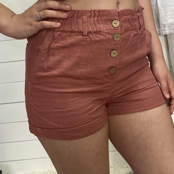 Rose Paper Bag Waist Shorts