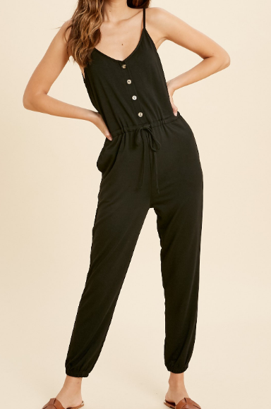 Black Sleeveless Button Detail Jumpsuit