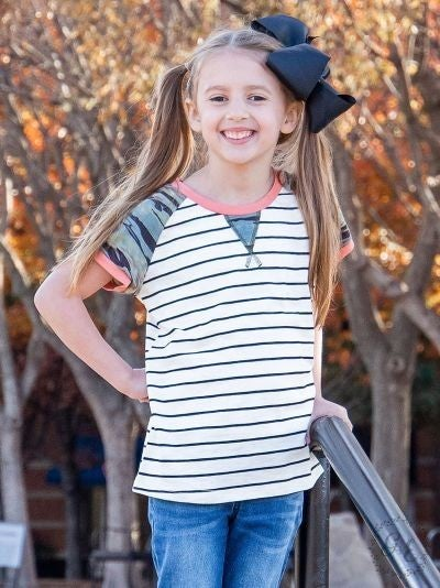 Girls On The Go Striped Top With Camo Accents