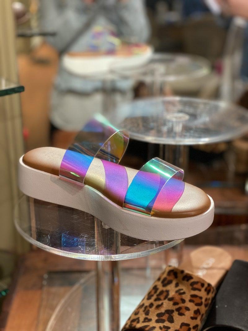 Iridescent Sky Corky Sandals