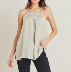 Faded Sage High Neck Tank