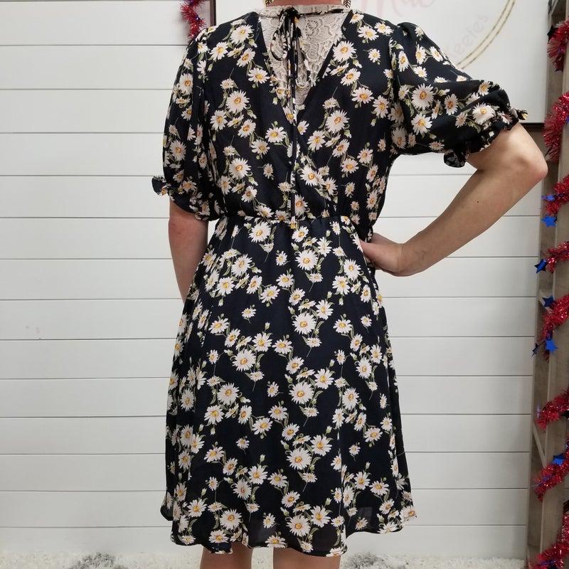 Navy Cross Body Floral Dress