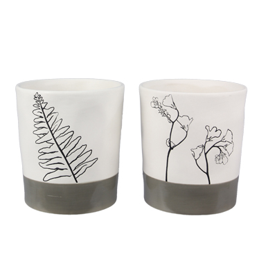 Lined in Simplicity Pots (2 Piece Set)