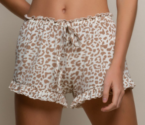 Cozy Brown Leopard Knit Shorts