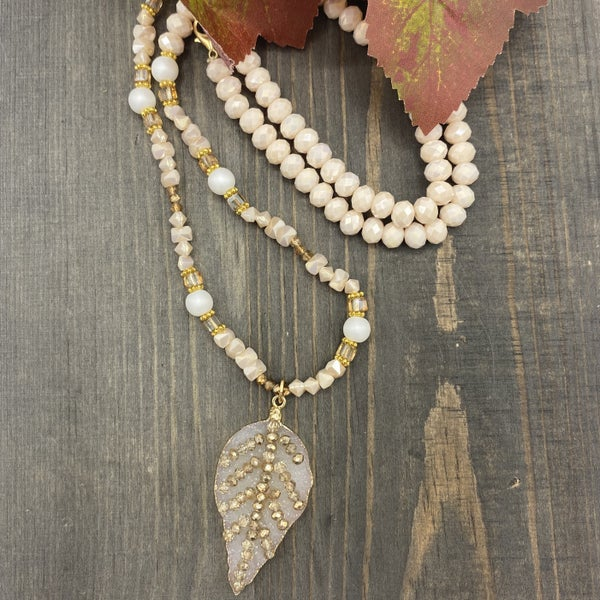 Leaf Beaded Necklace with Stone & Bead Pendant