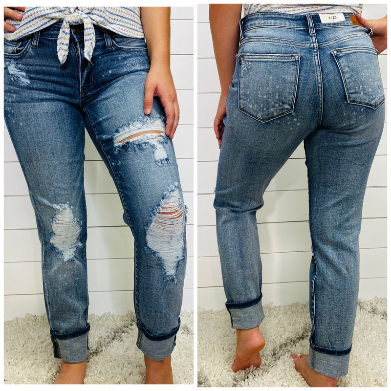 Destroyed Bleach Spatter Boyfriend Judy Blue Jeans