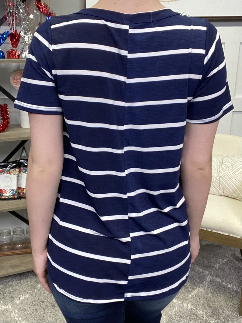 Be Striped In Blue Top