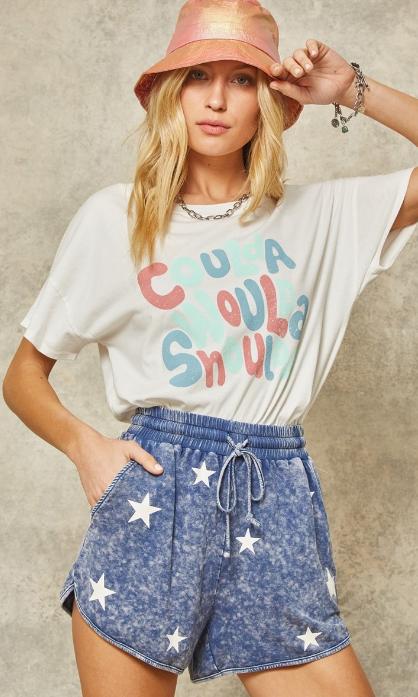 Denim Blue Starry Shorts