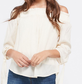 Embroidered Self-Tie Sleeve Off the Shoulder Top - 2 colrs.