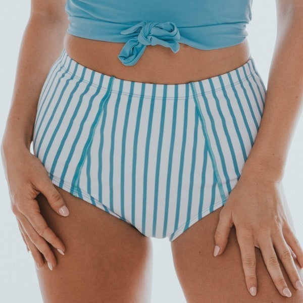 Blue & White Stripe High Waisted Swim Bottoms