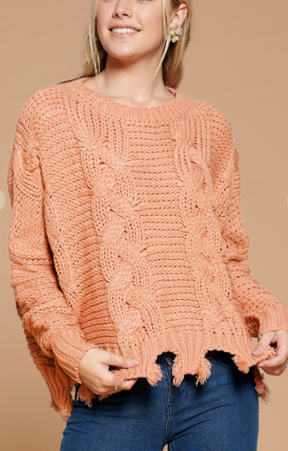 Frayed Cable Knit Sweater