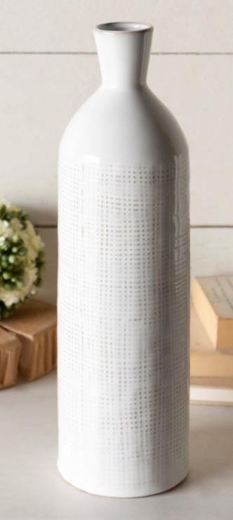 White Textured Ceramic Vase
